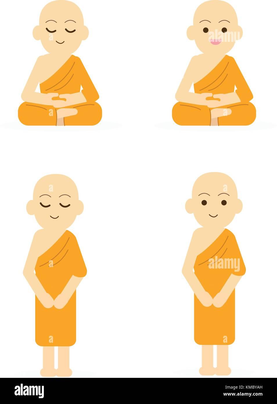 Monk cartoon set peaceful isolated white background.Buddha character set vector illustration - Stock Image