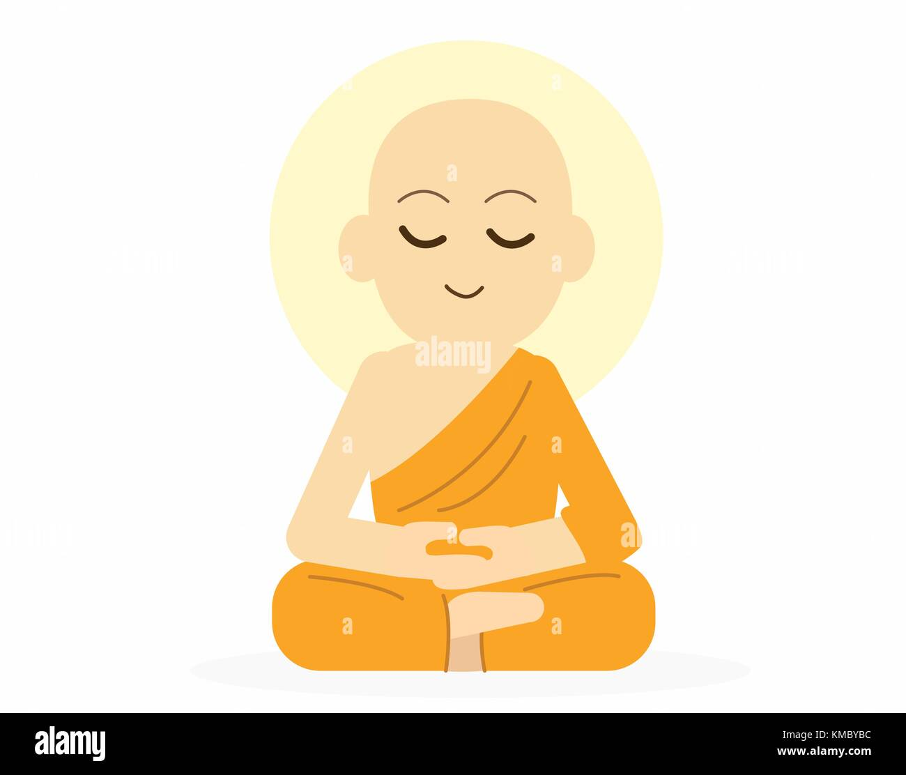 Sitting Buddha with meditation pose and back light aura vector illustration - Stock Vector