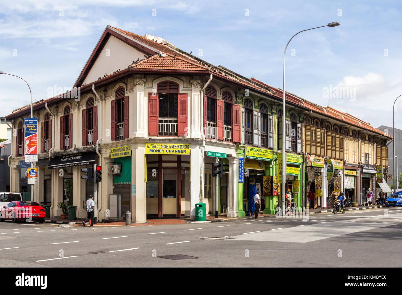 Typical shophouses, North Bridge Road, Singapore - Stock Image