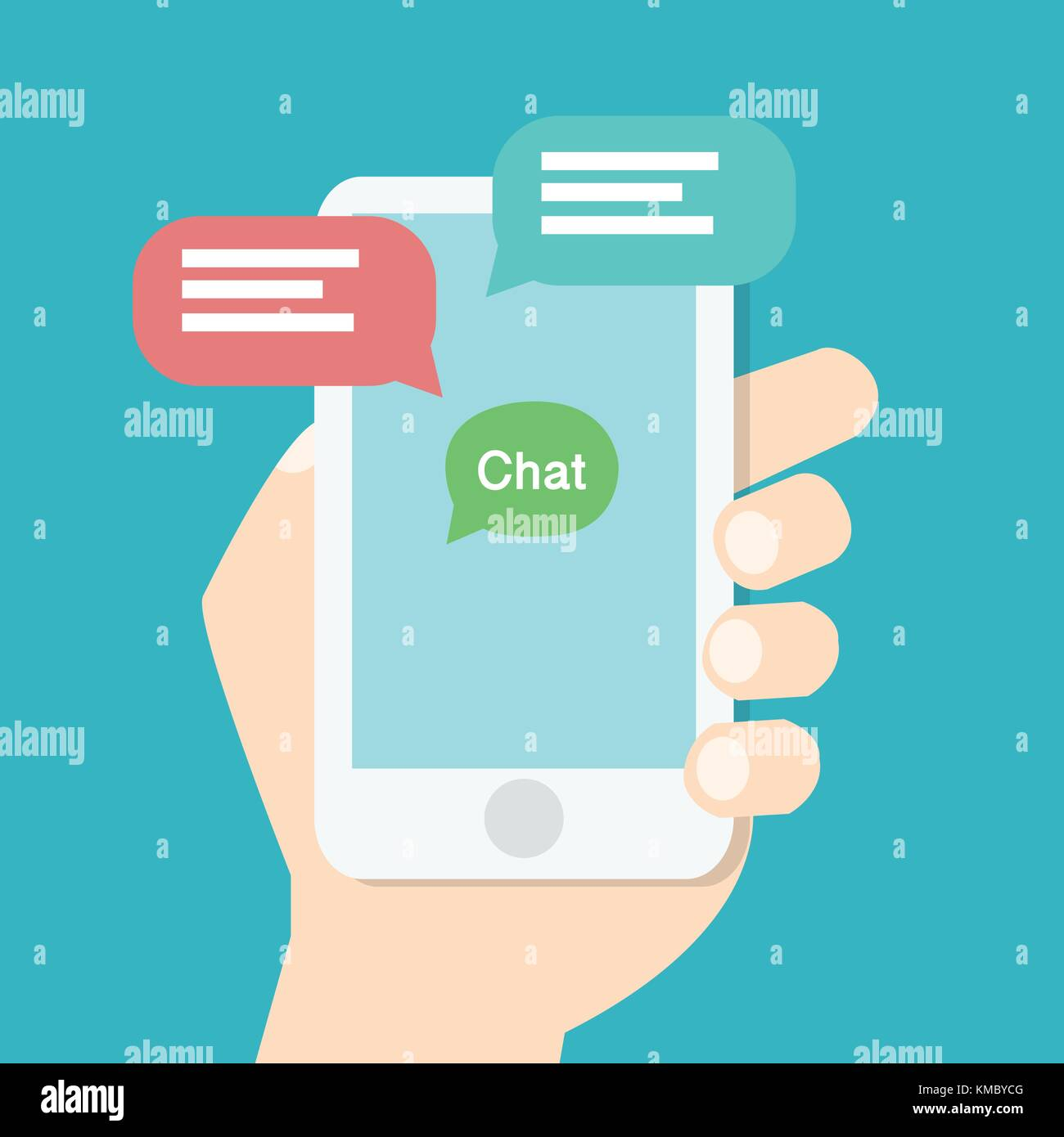 Hand holding smart phone with chat application on screen and speech chat box,online chat concept. Modern graphic - Stock Image