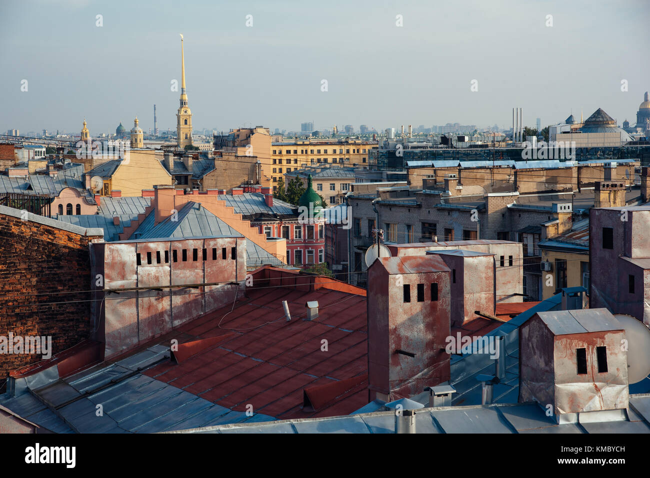 view over the rooftops of Saint-Petersburg - Stock Image