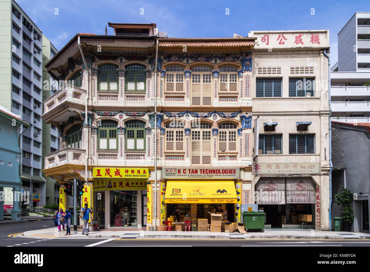 Shophouses on Jalan Besar, Rochor, Singapore - Stock Image
