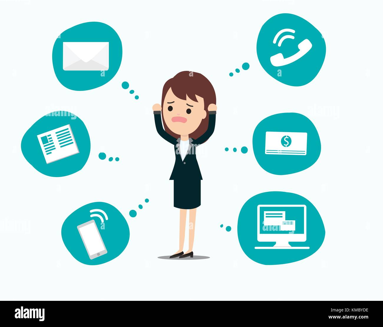 Businesswoman stress pressure, business mental issues, concept vector icons with pictogram computer,money,news,telephone Stock Vector