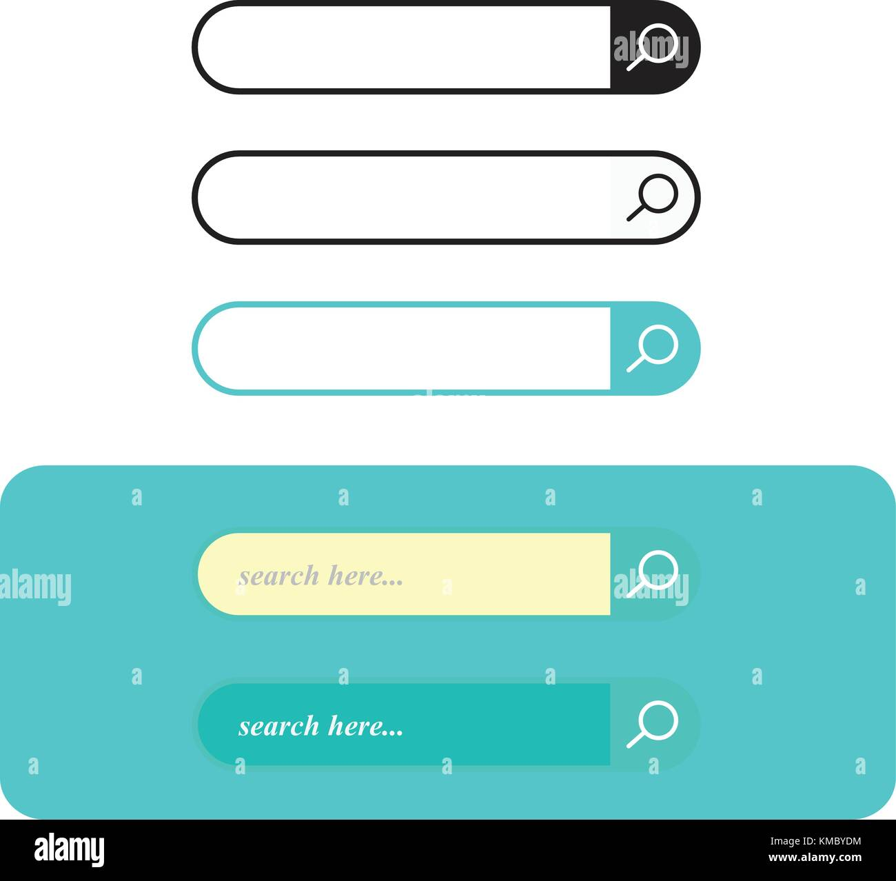 Search bar set vector interface elements with search button, search box modern simple design - Stock Image