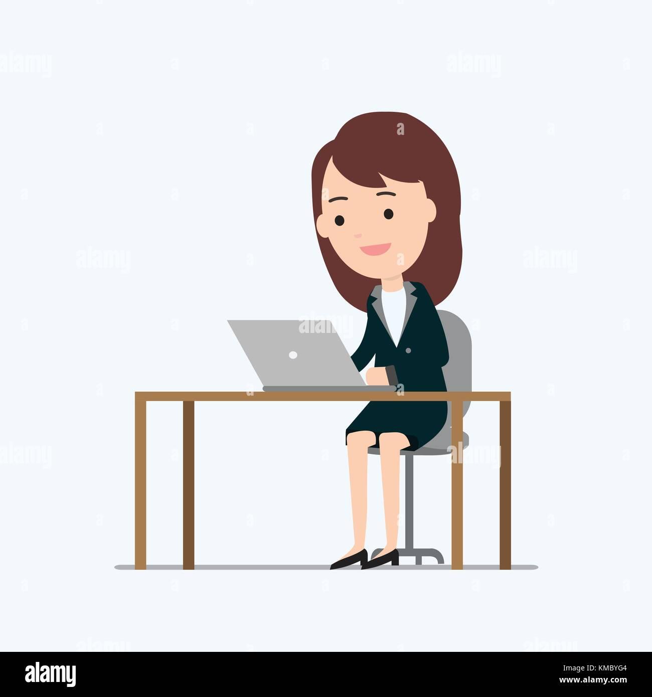 Cartoon Girl Sitting Desk Working Stock Photos Cartoon Girl