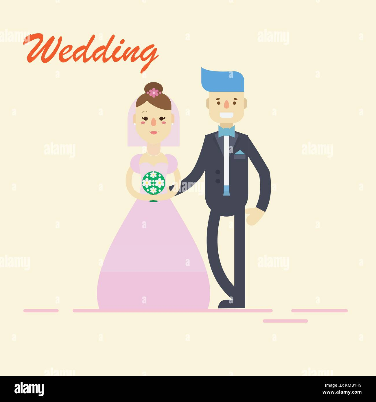 Groom and bride ,couple holding hands on wedding ceremony. Vector ...