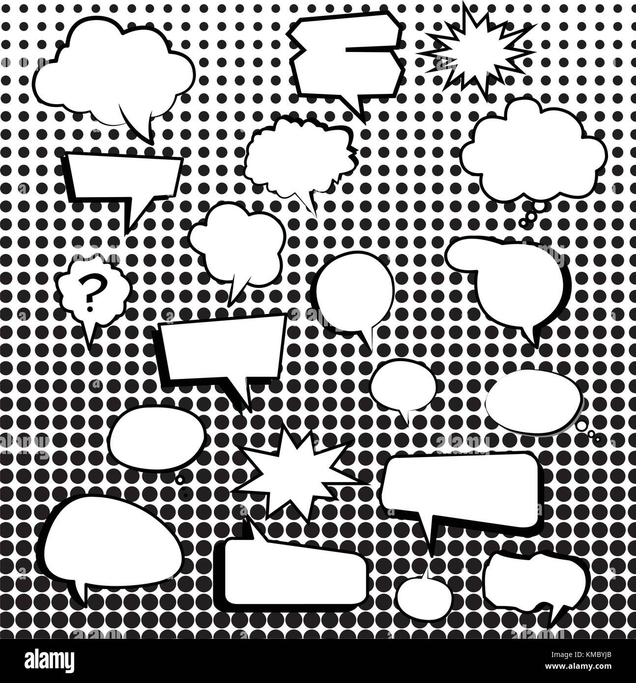 Comic text boxes with elements and dot pattern vector illustration - Stock Image