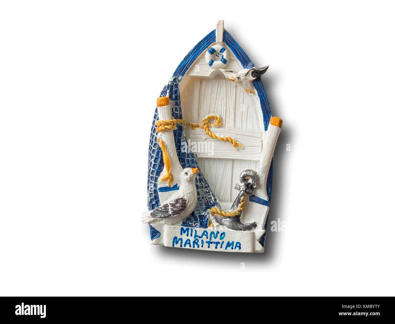 Milano Marittima (Italy) souvenir refrigerator magnet isolated on white background - Stock Image