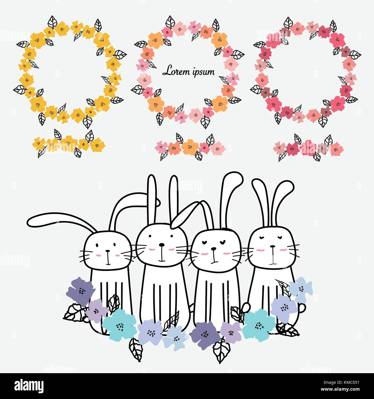 Set Of Hand Drawn Floral Frames Card Decoration And Cute Bunny Stock ...