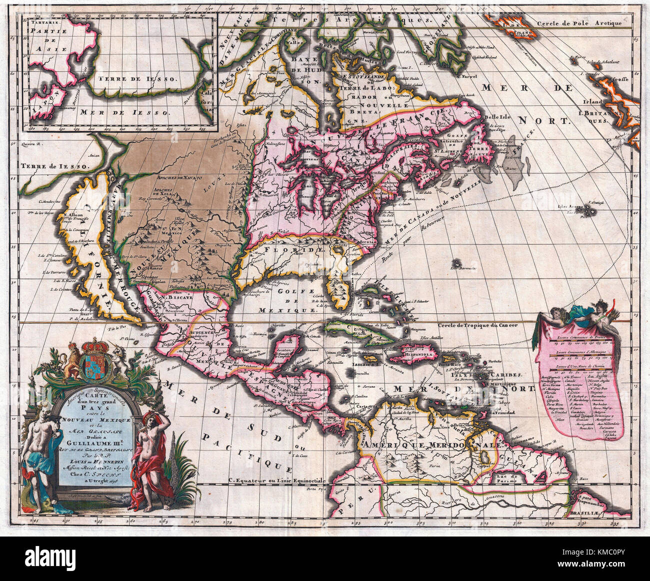 Map Of America Equator.1698 Friar Hennepin Map Of North America Covering All Of North