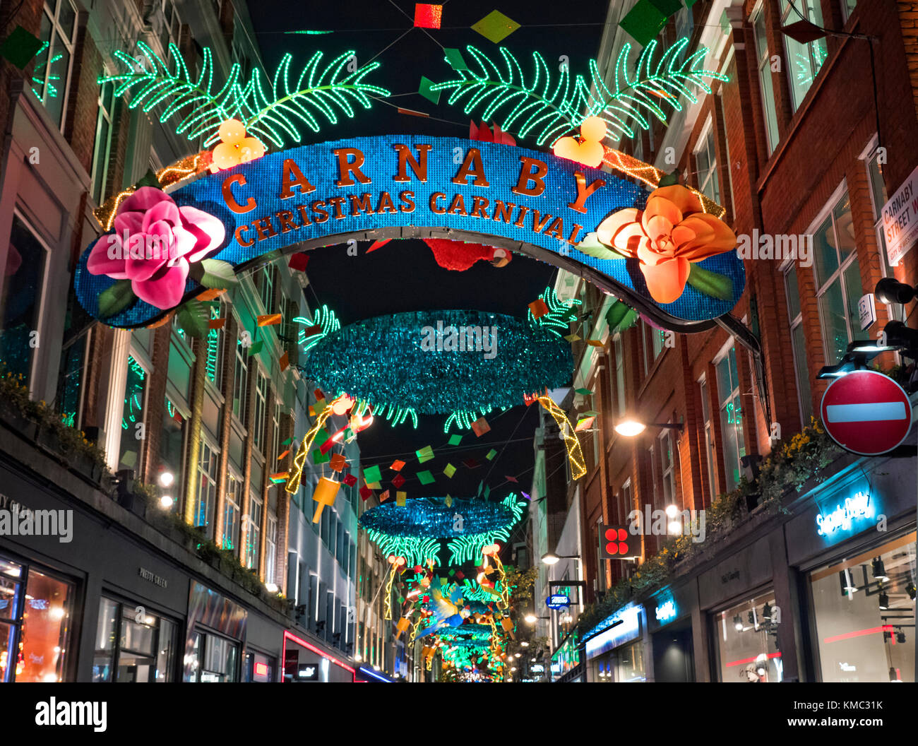 Carnaby Street Christmas Lights 2017 - Stock Image