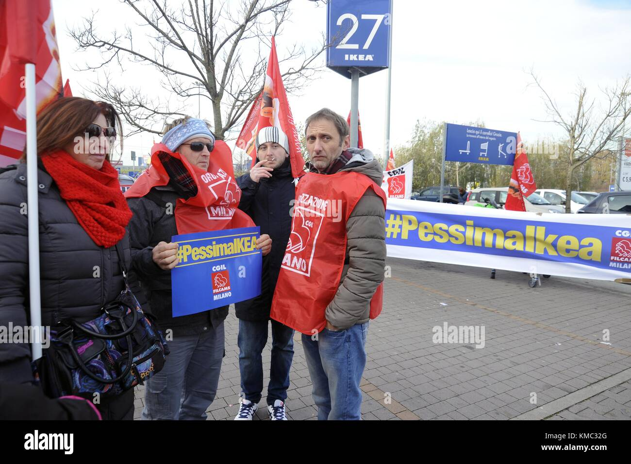 Protest by CGIL union to the IKEA in Corsico (East Milan perifery, Italy) against unjustified dismissals. - Stock Image