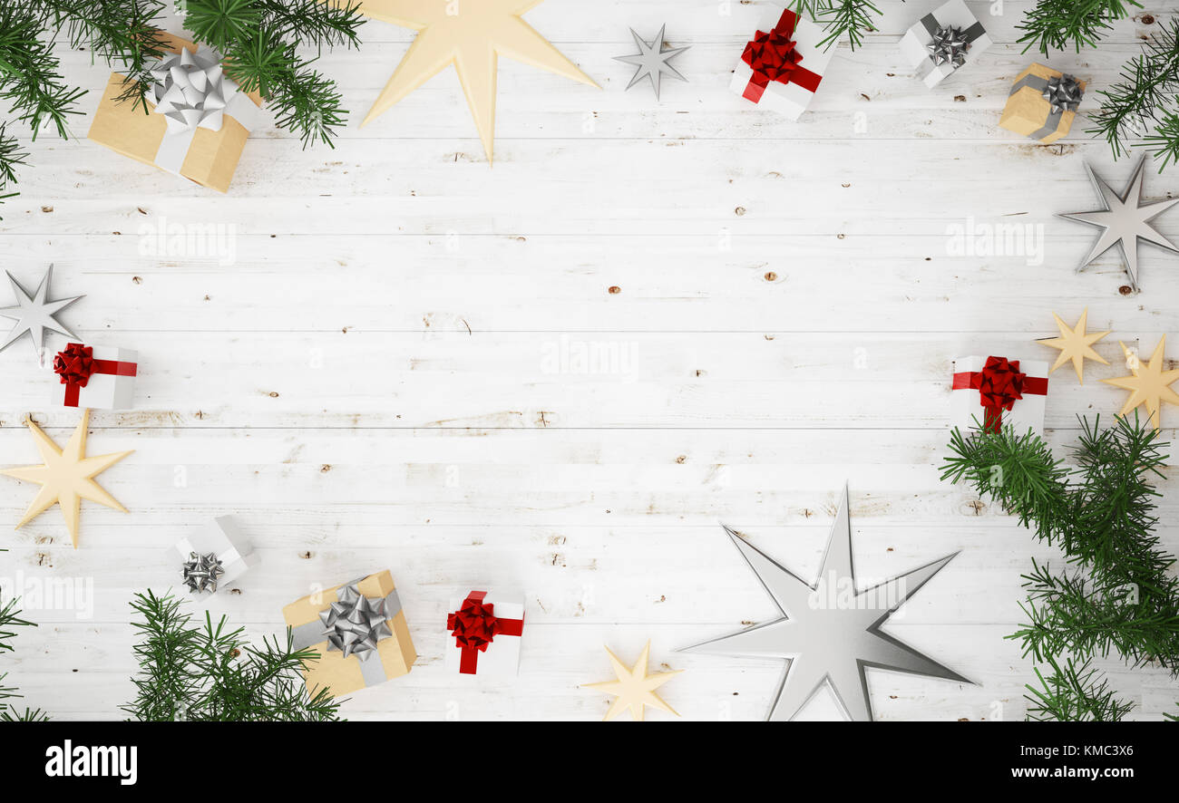 5e4e28f63fb4 3d rendering top view of christmas composition: silver, golden and red  gifts, knnitted blanket, stars and on wooden white background