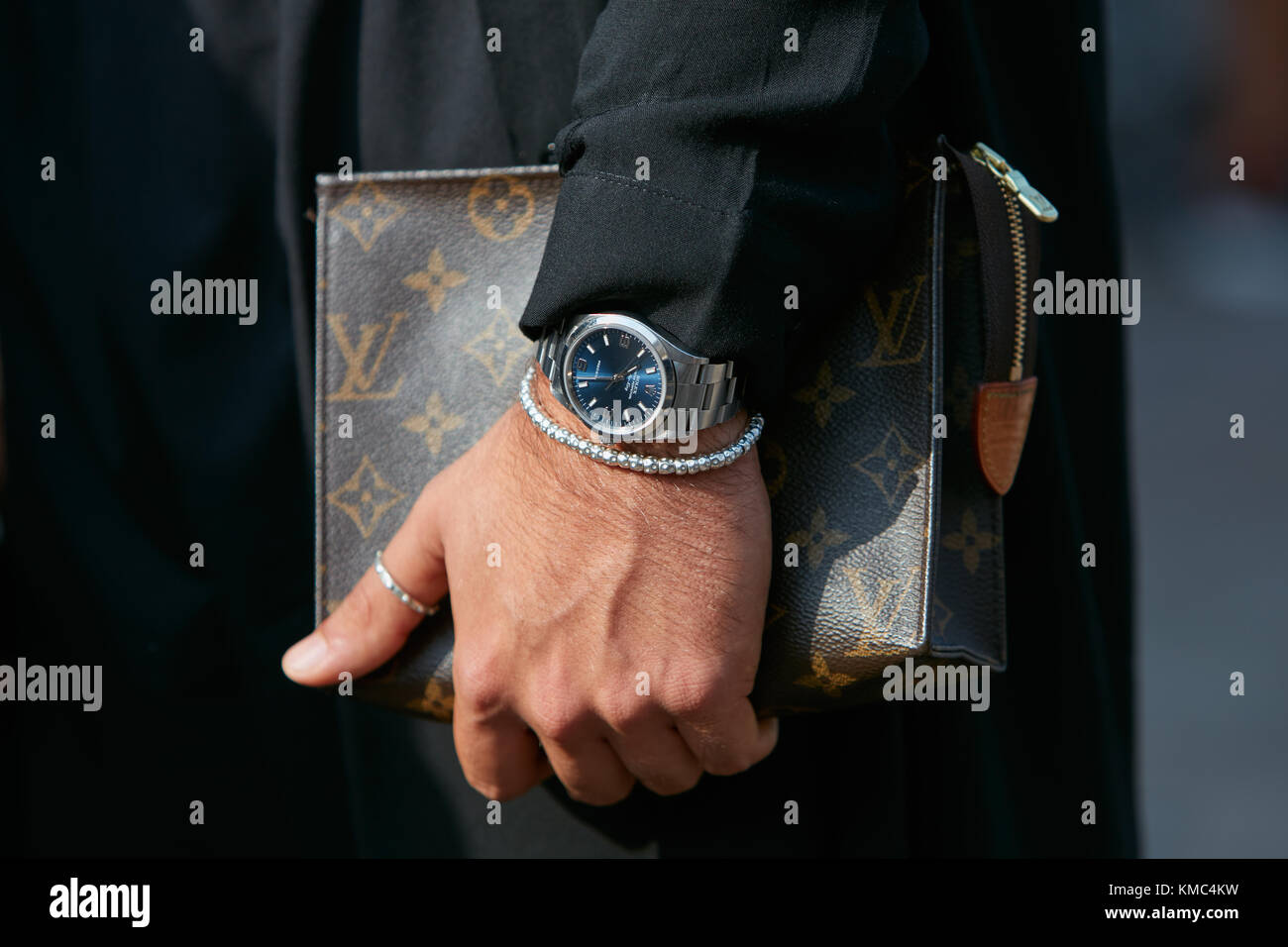 Milan September 23 Man With Rolex Air King Watch With Blue Dial