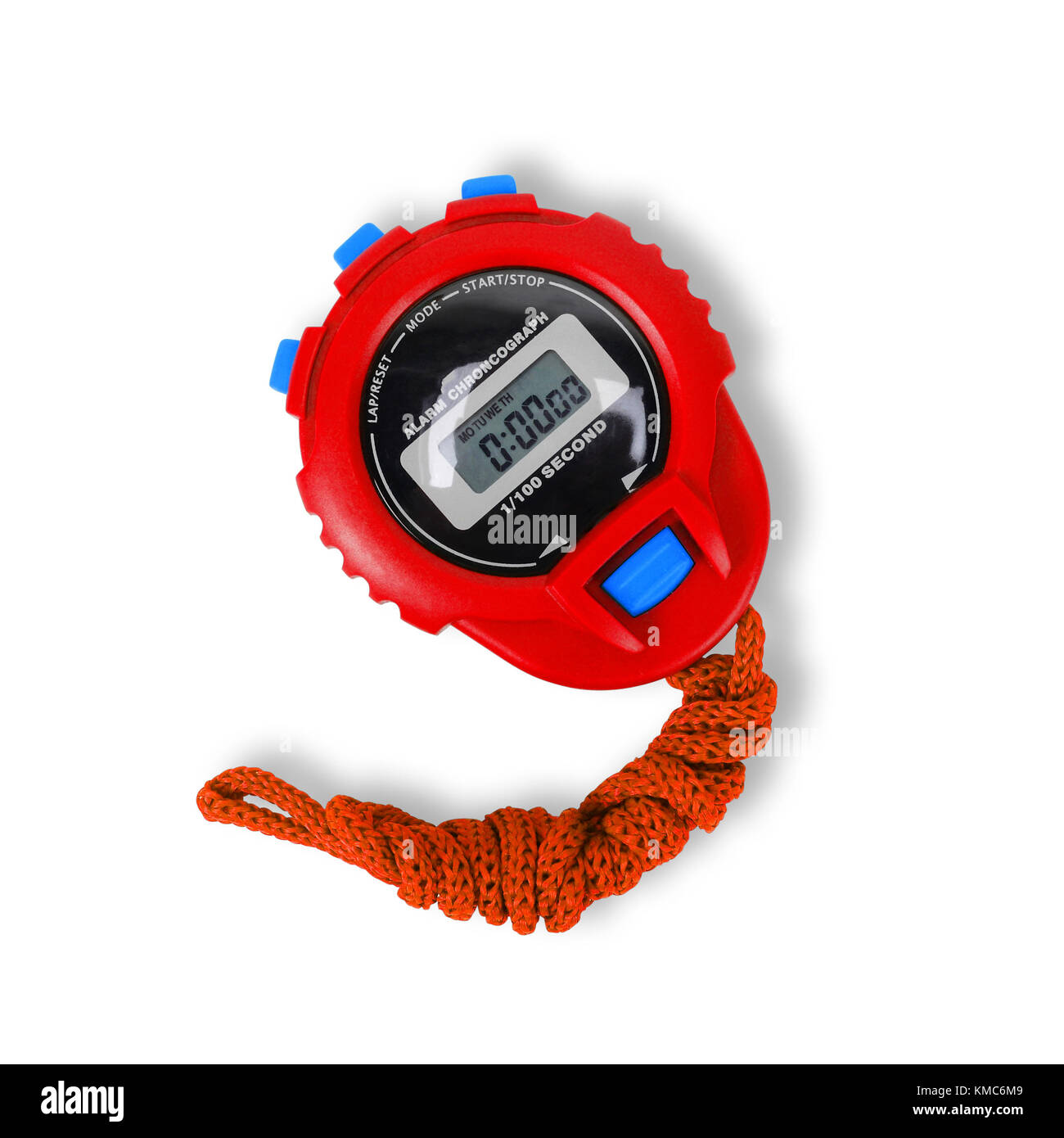 Sports equipment - Red Digital electronic Stopwatch on a white background. Isolated - Stock Image