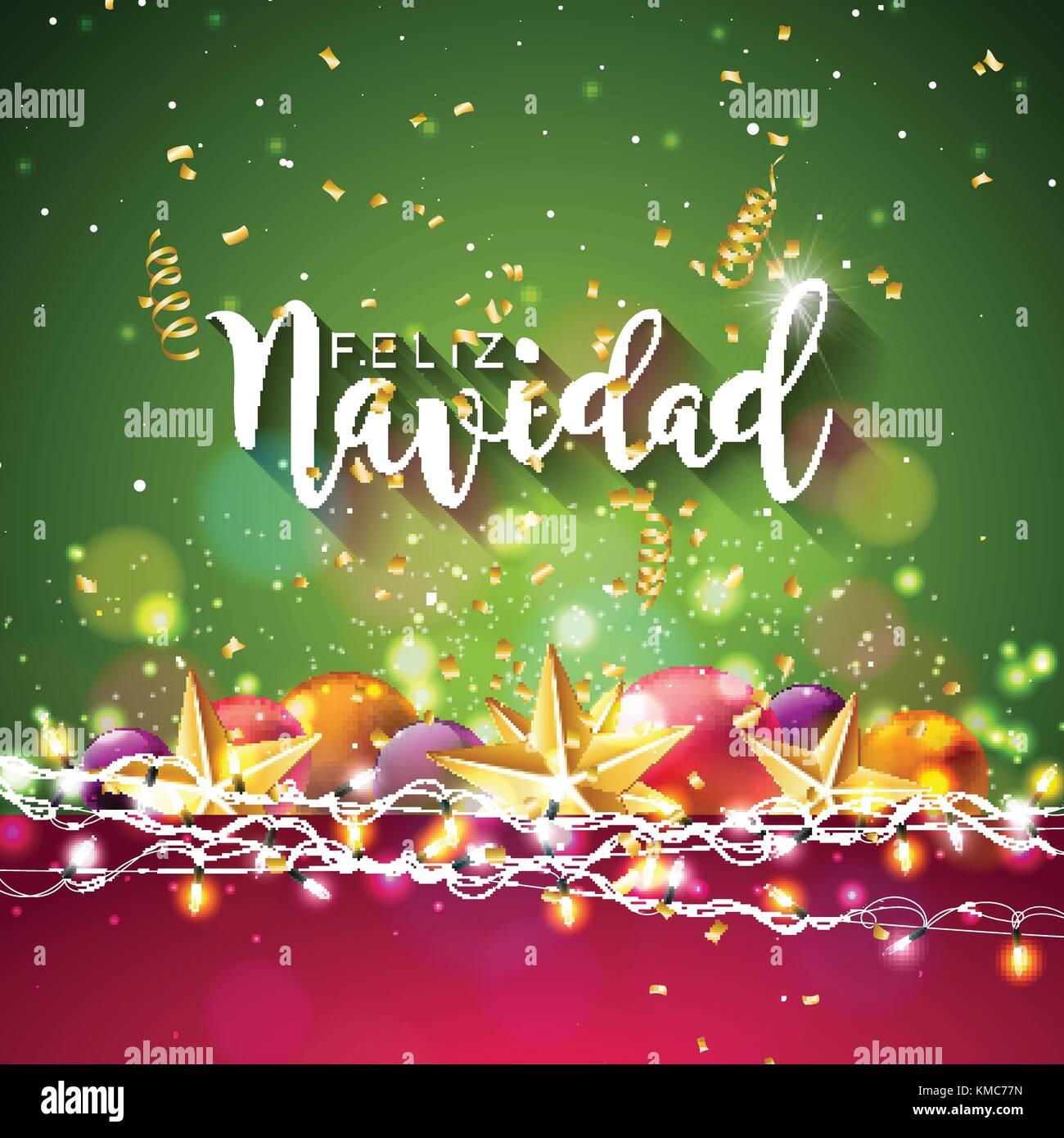Christmas Illustration With Spanish Feliz Navidad Typography And