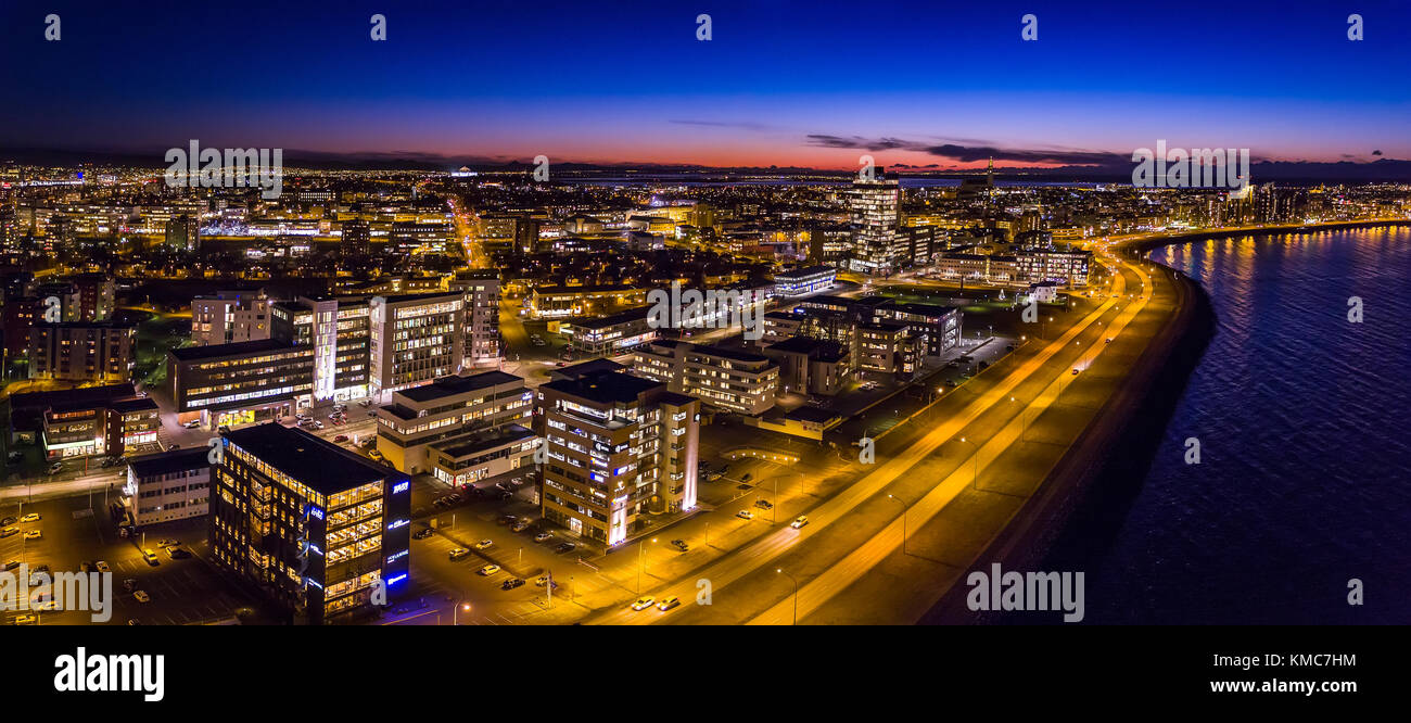 Evening, Reykjavik, Iceland. This image is shot using a drone. - Stock Image