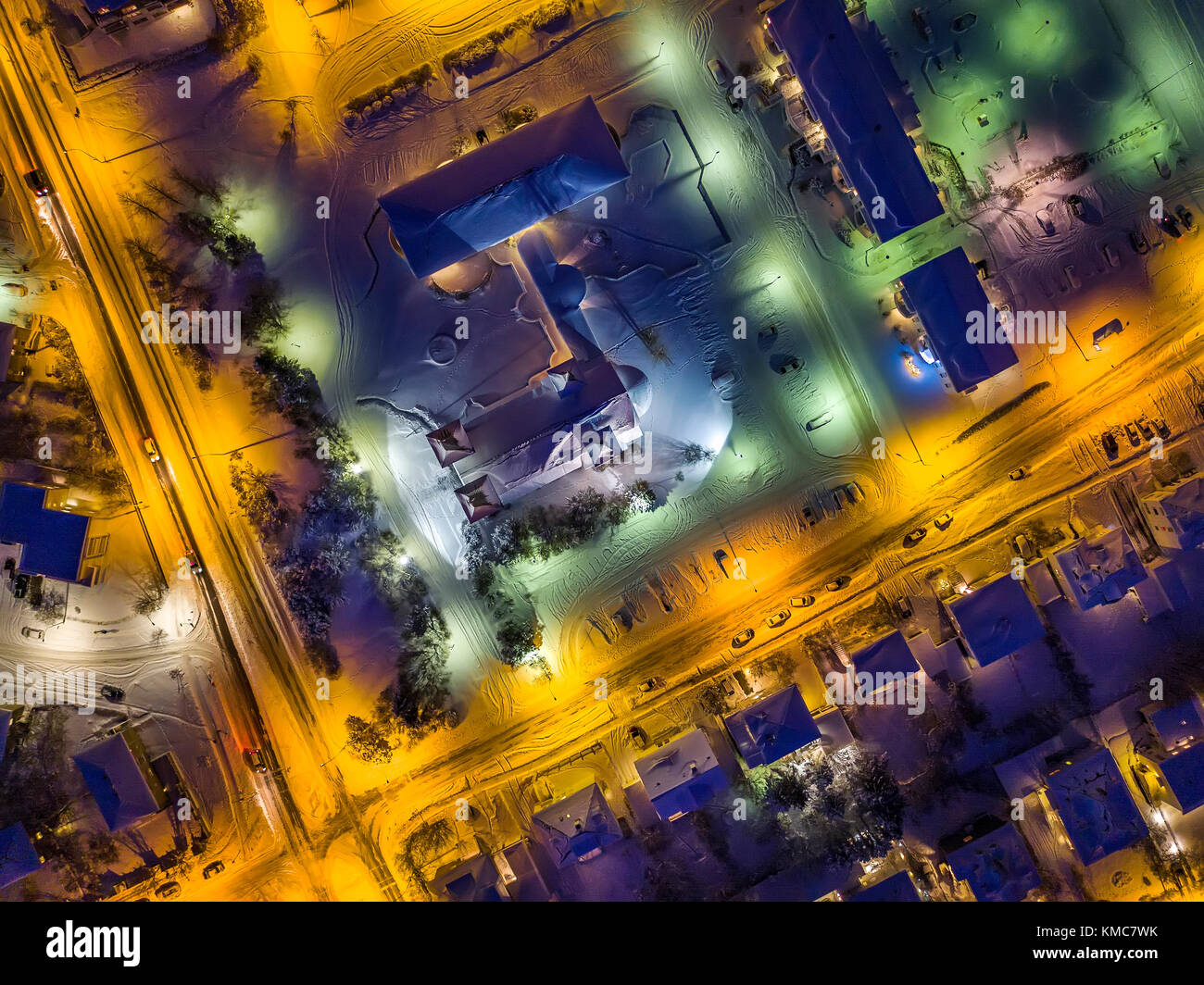 Top view of Reykjavik shot with a drone, Iceland - Stock Image