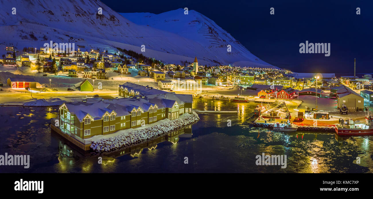 Wintertime, Siglufjordur, Northern Iceland. This image is shot using a drone. - Stock Image