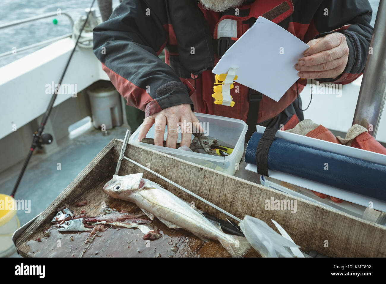 Mid section of fisherman maintaining record of hand tool - Stock Image