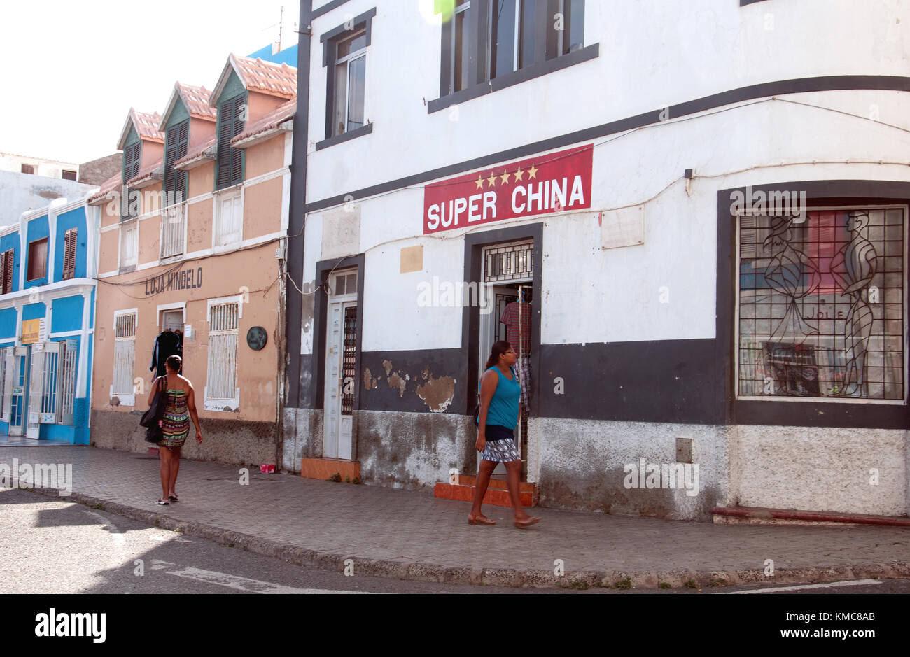 Chinese store in São Vicente's capital, Mindelo;China has a significant presence in the Cape Verde islands - Stock Image