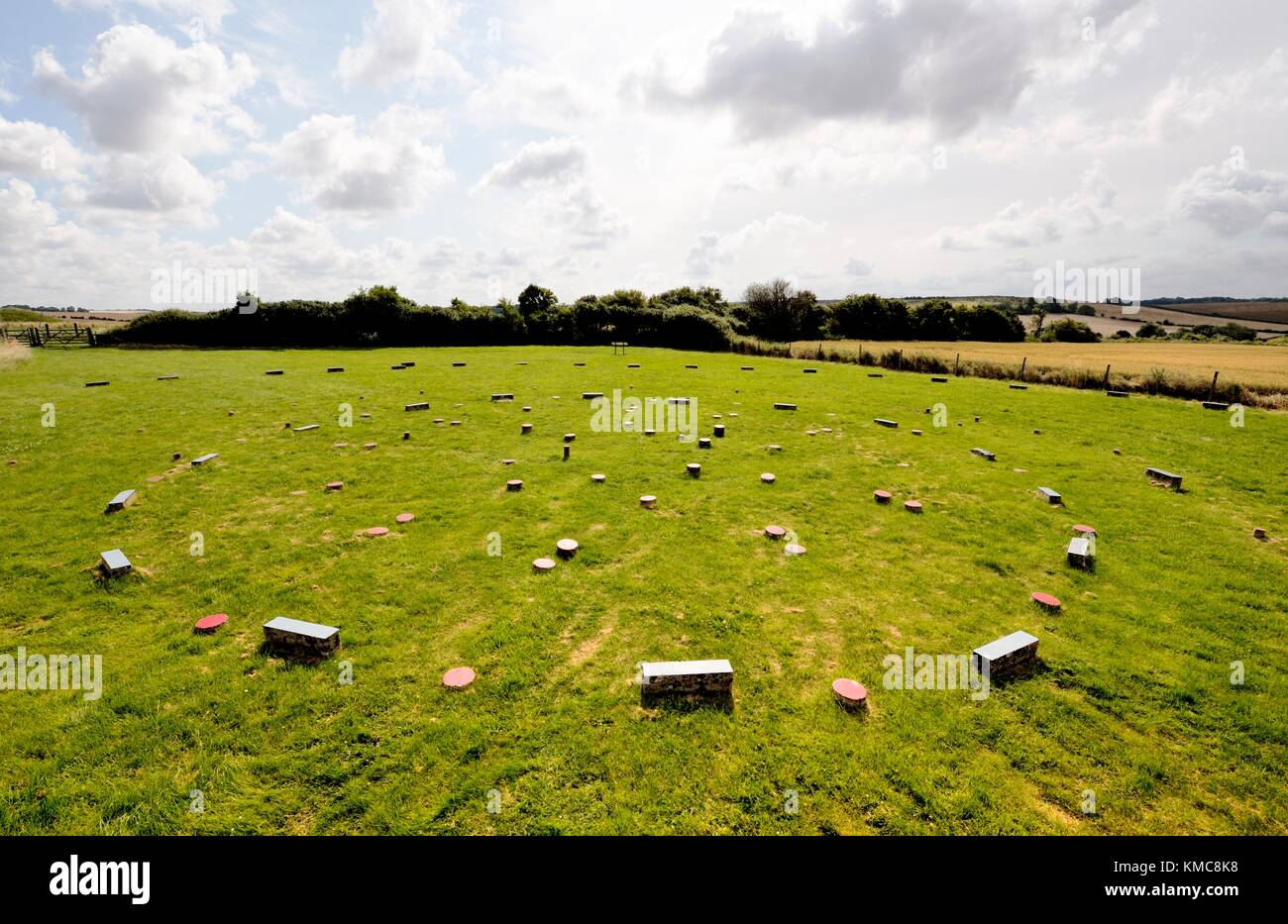 The Sanctuary 4500 year old ritual site. Avebury, Wiltshire England. Markers indicate original concentric stone - Stock Image