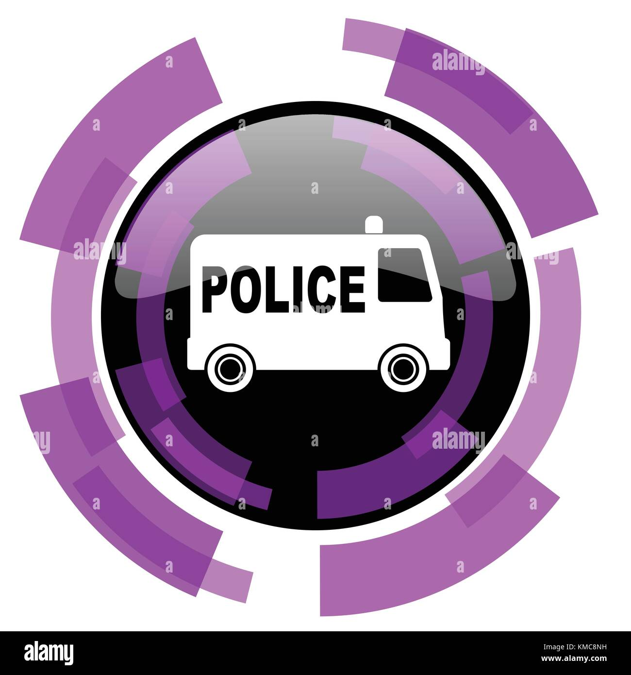 Police pink violet modern design vector web and smartphone icon. Round button in eps 10 isolated on white background. Stock Vector