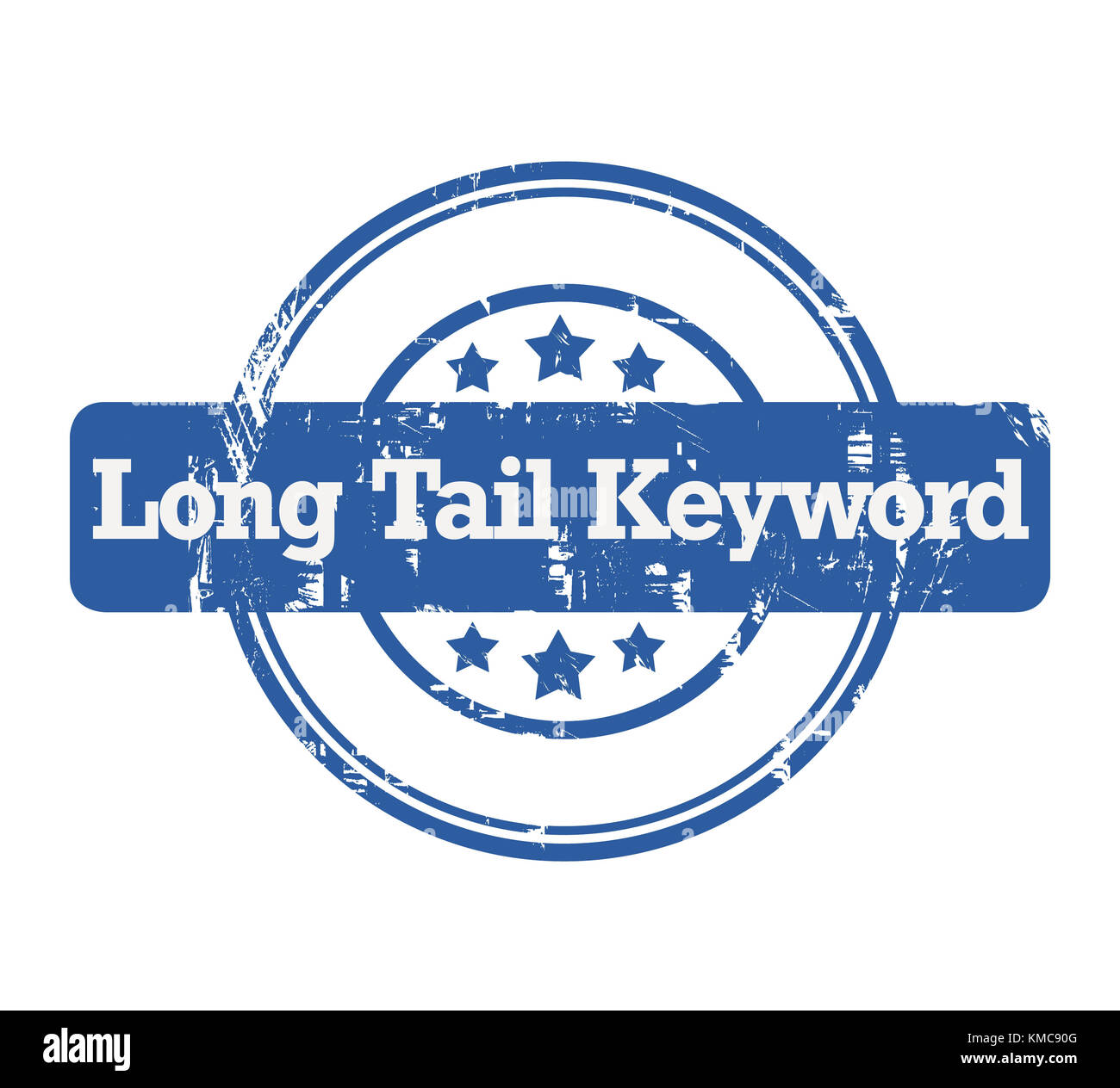 SEO Long Tail Keyword blue stamp with stars isolated on a white background. - Stock Image
