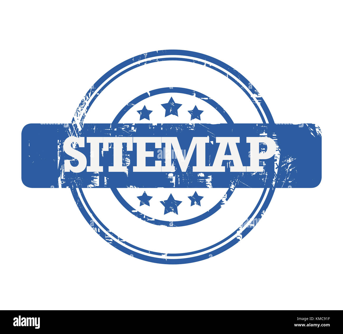 Blue SEO Sitemap stamp with stars isolated on a white background. Stock Photo