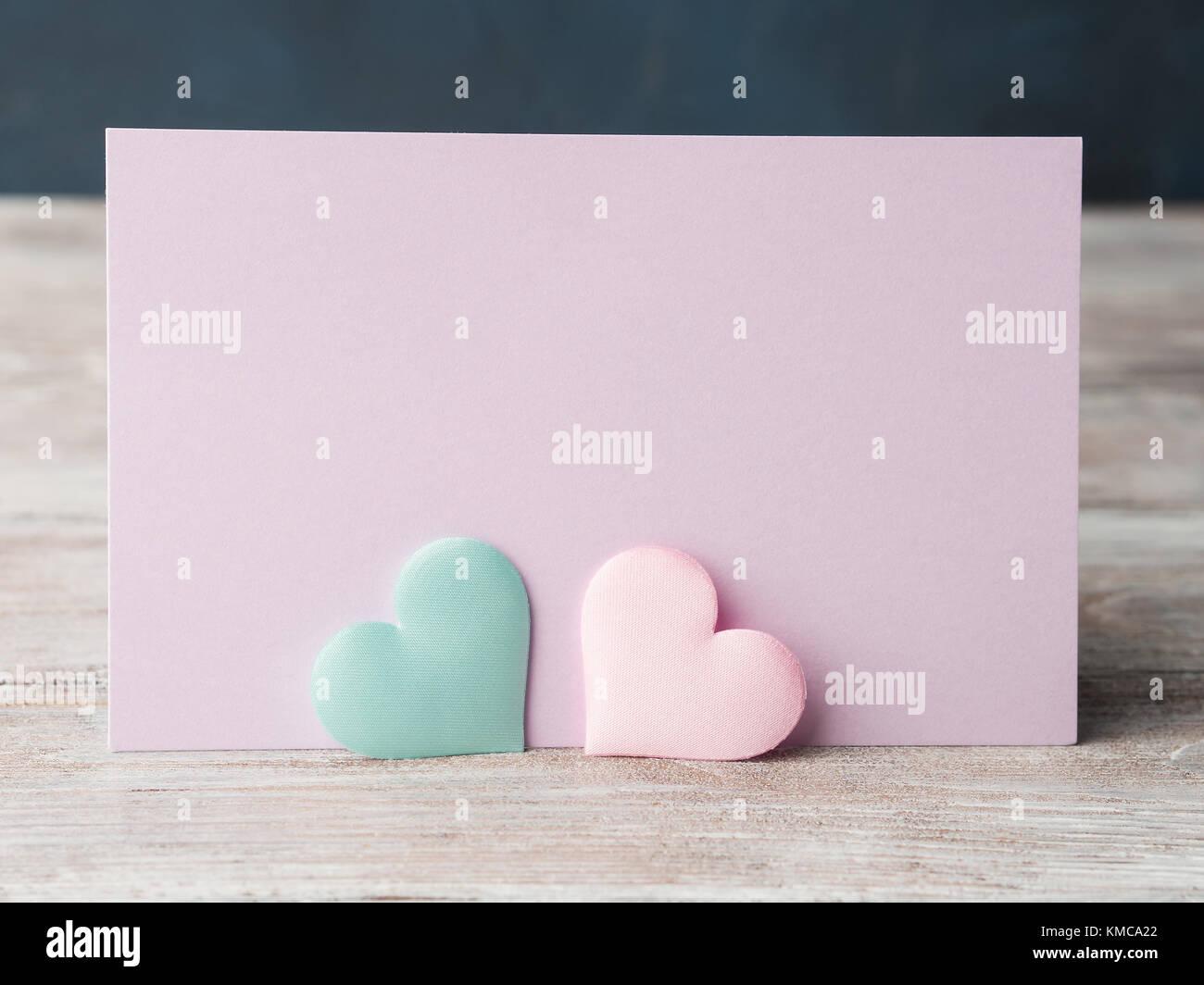Pink hearts on purple blank card valentines mother day or baby valentines mother day or baby birthday greeting card wedding invitation m4hsunfo