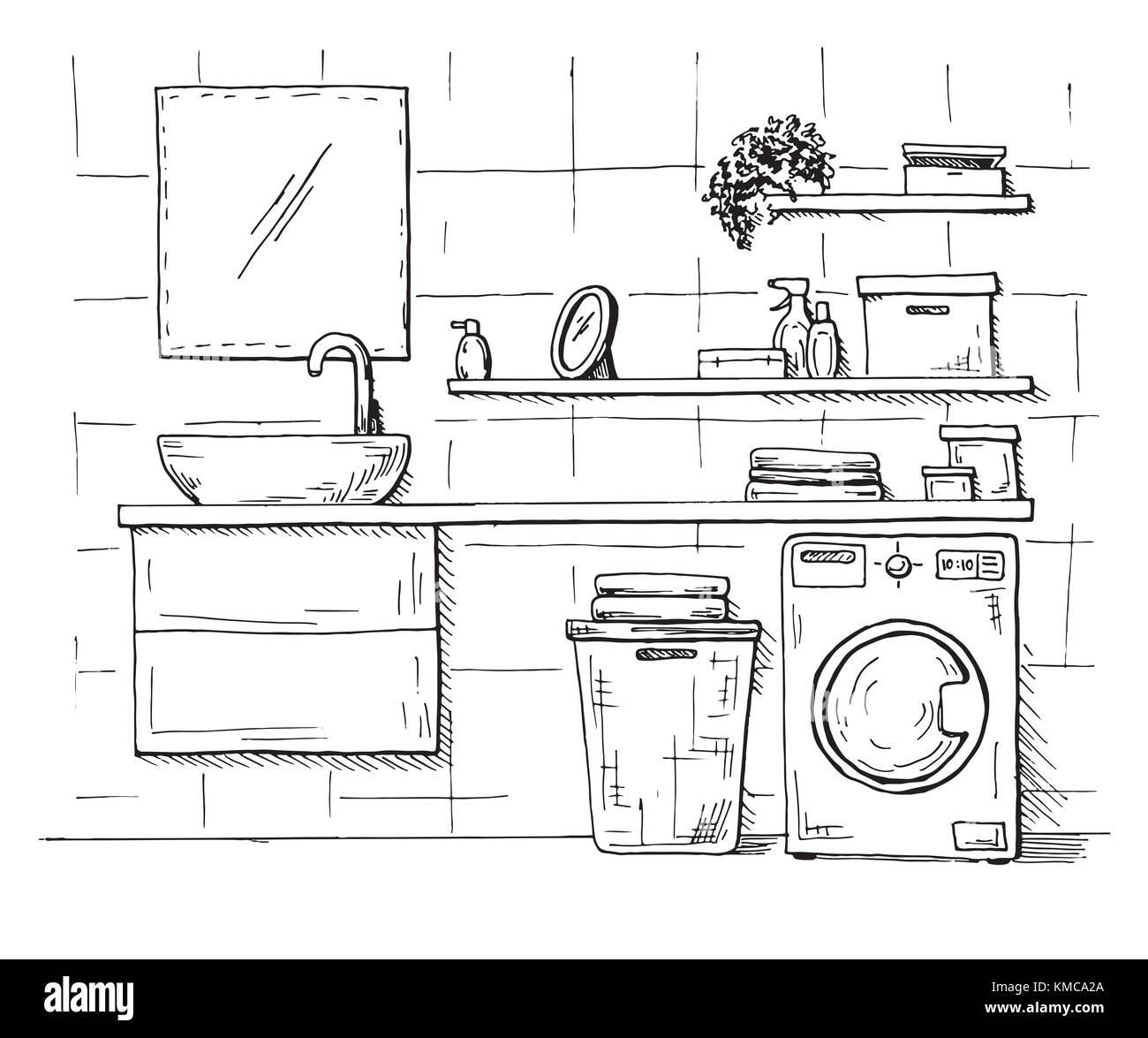 Bathroom Sketch Stock Photos Bathroom Sketch Stock Images Alamy - Drawing of bathroom