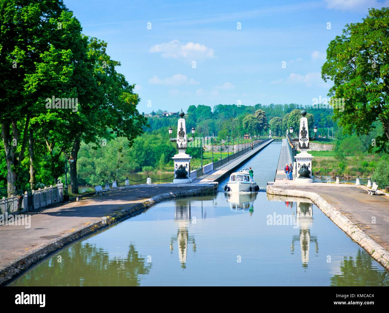 The canal bridge aqueduct designed by Eiffel crosses the Loire at Briare in the Loiret region of France, near Orleans - Stock Image