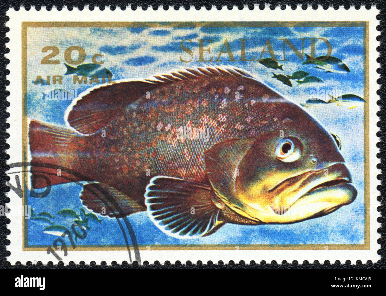 A stamp printed in PRINCIPALITY OF SEALAND shows  a big fish , series , circa 1970 - Stock Image