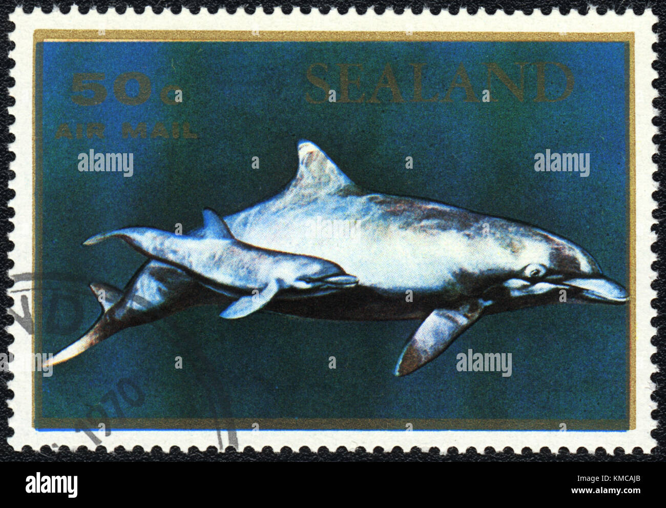 A stamp printed in PRINCIPALITY OF SEALAND shows a Dolphins, series, circa 1970 - Stock Image