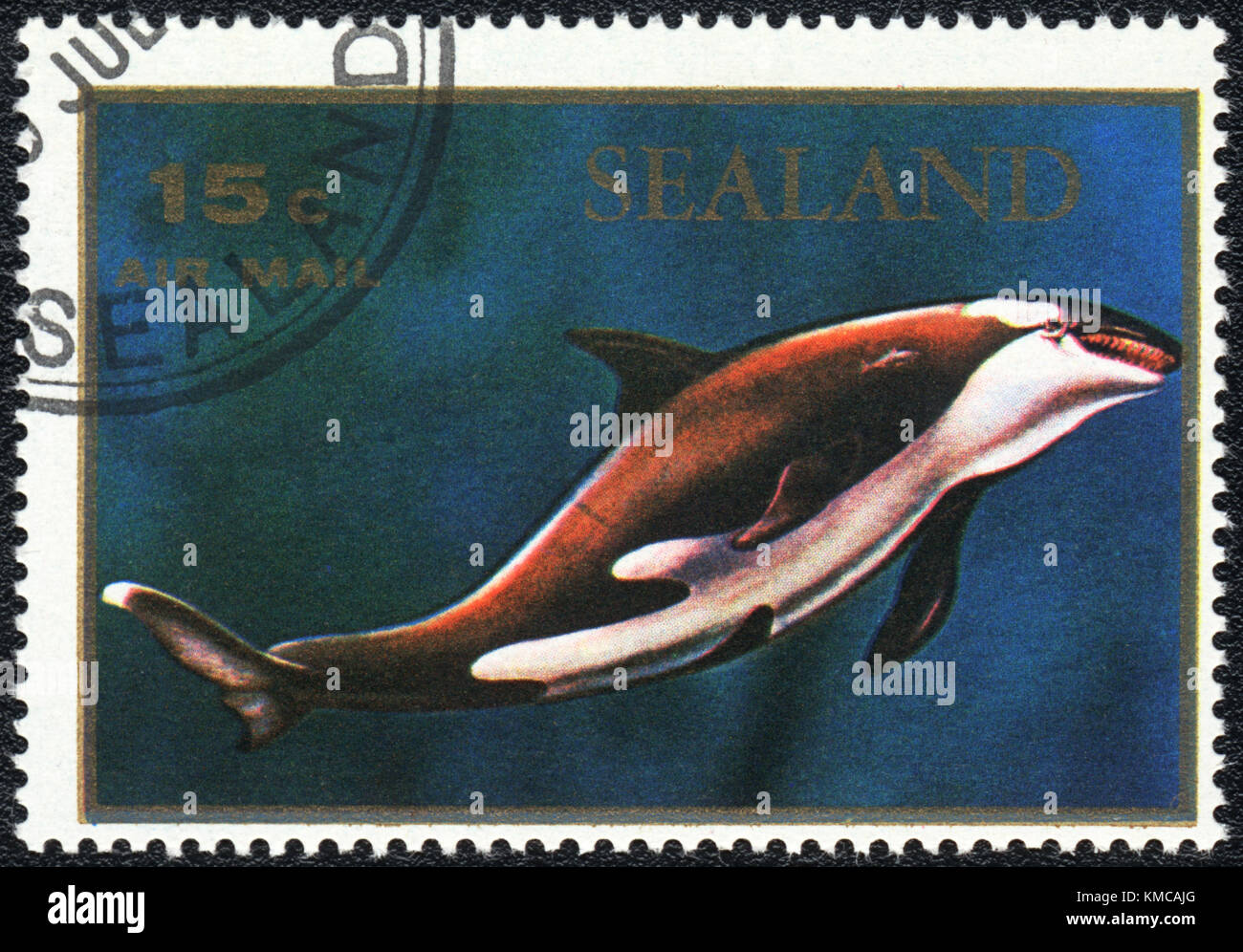 A stamp printed in PRINCIPALITY OF SEALAND shows  a Orcinus orca, series, circa 1970 - Stock Image