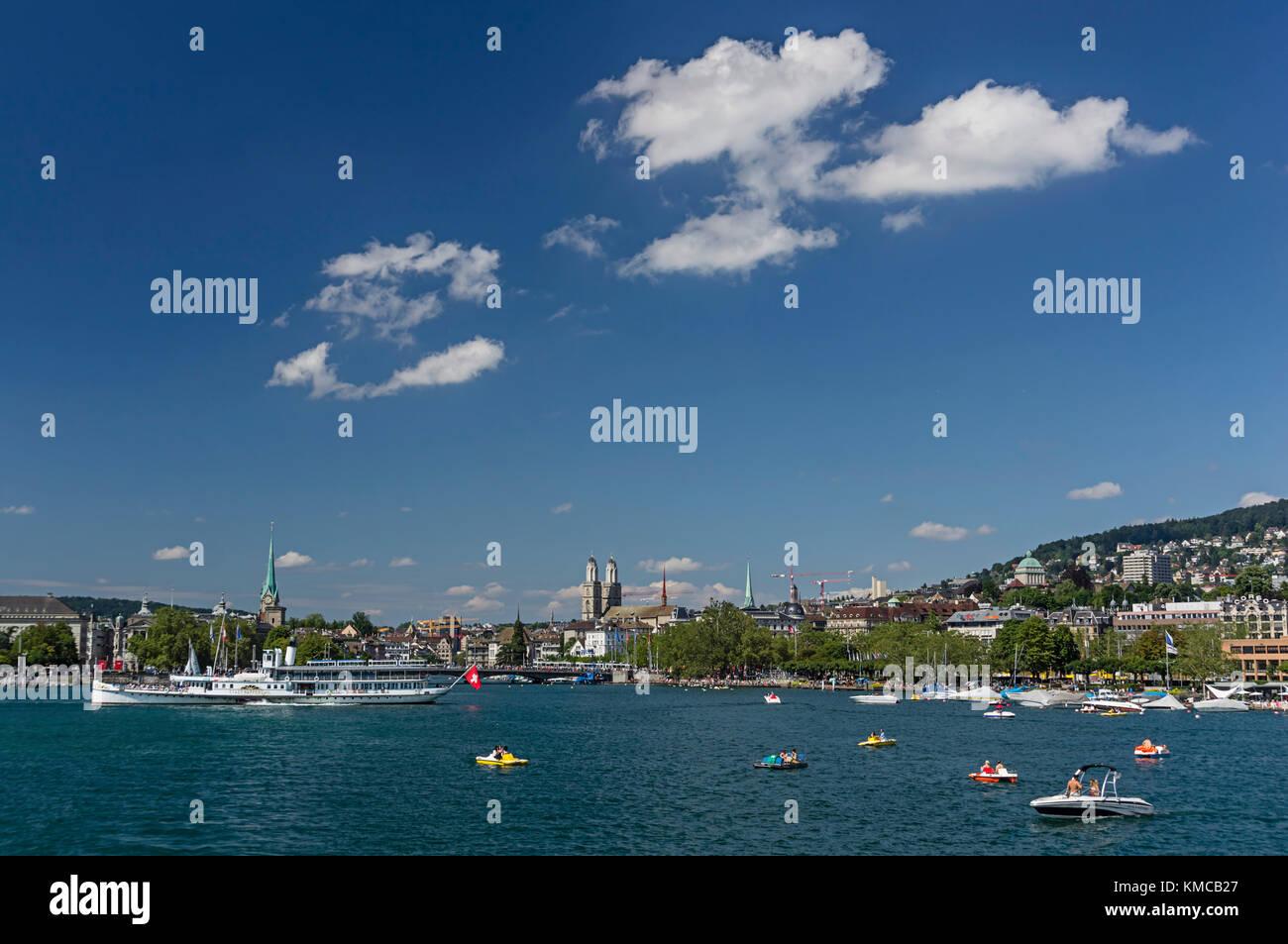 Lake Zurich , Skyline with Grossmunster, Steam boat,  Zurich, Canton Zurich, Switzerland - Stock Image