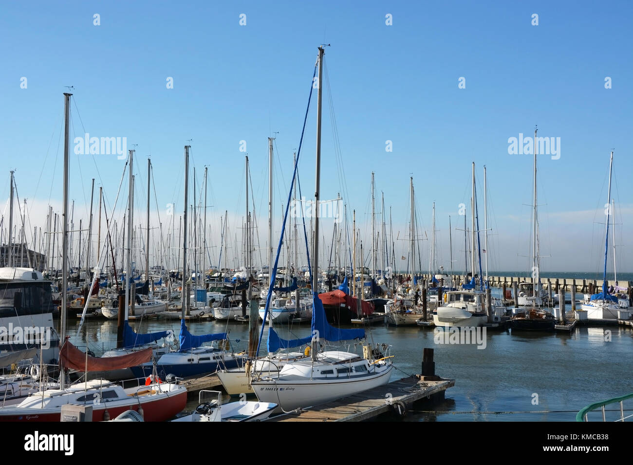 SAN FRANCISCO - AUGUST 17: Sailing boats at Fishermans Wharf on August 17, 2013 in San Francisco, USA. Fishermans Stock Photo