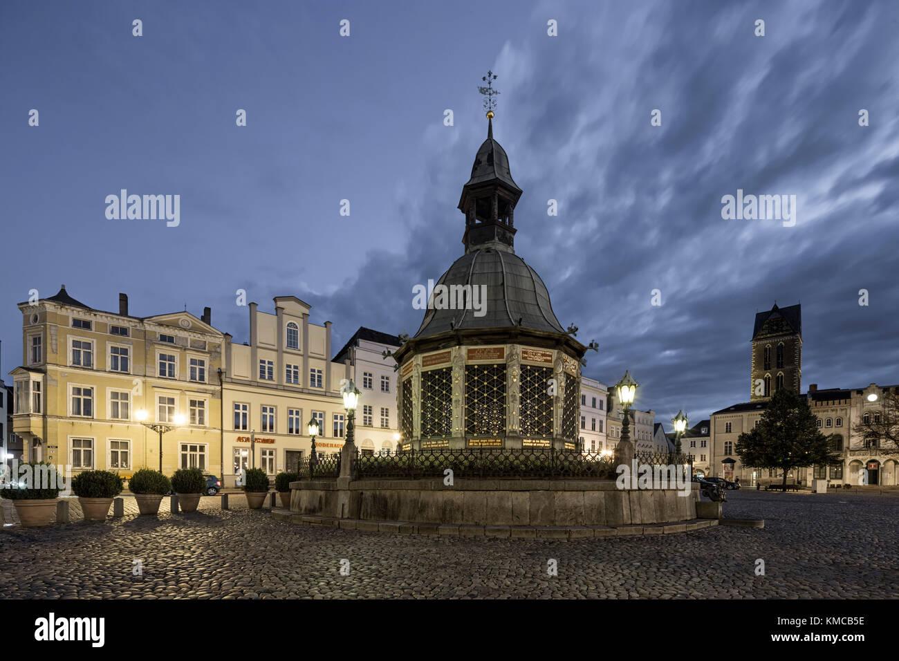 Marketplace of Wismar, Memorial Wasserkunst , Germany - Stock Image