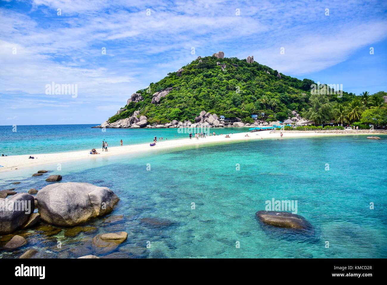 Beautiful Thailand beach of Nang Yuan island, the popular tourist destination near Samui island in gulf of Thailand - Stock Image