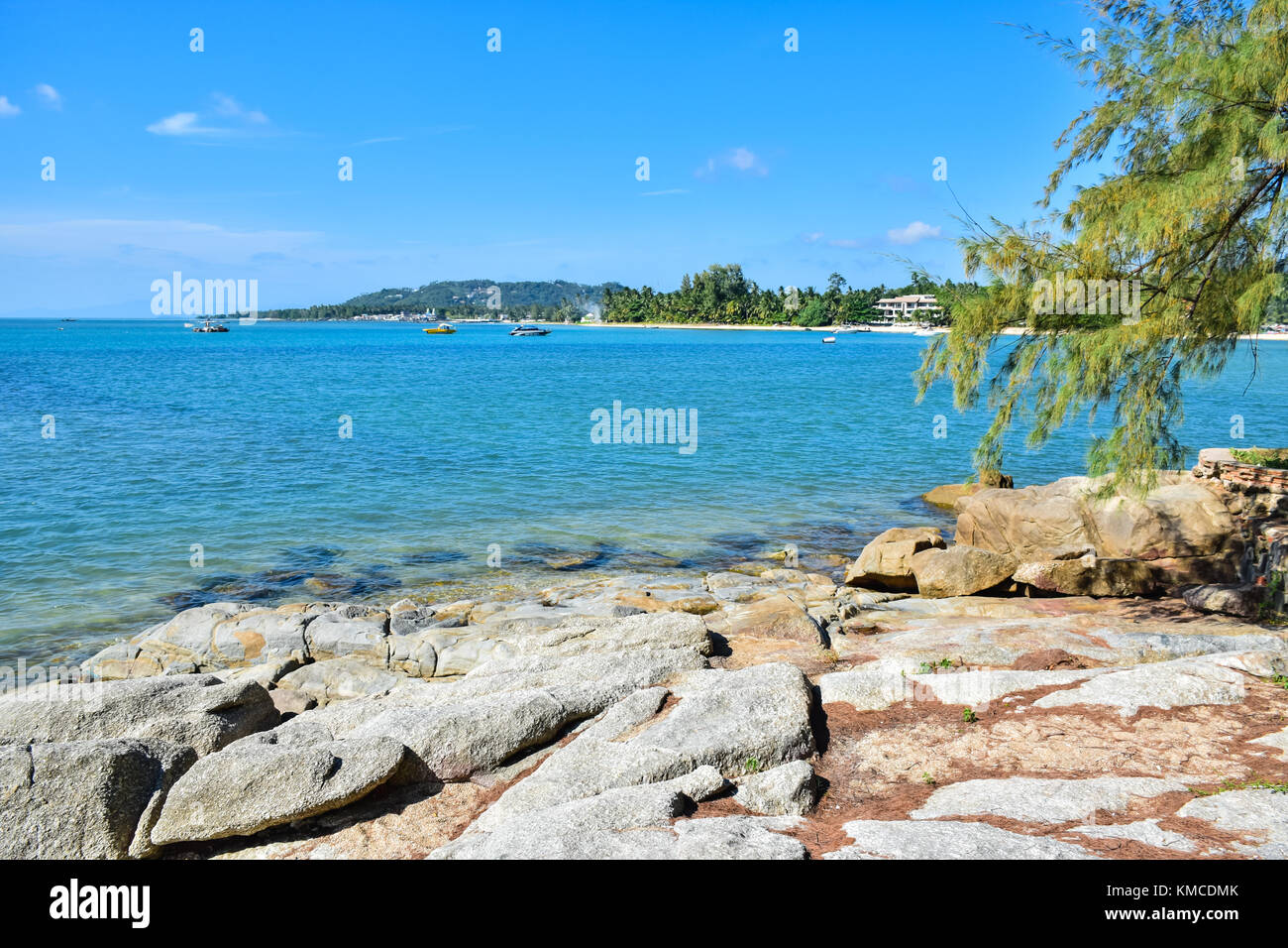 Beautiful seascape of rocky seashore sandy beach in Samui island, Thailand - Stock Image