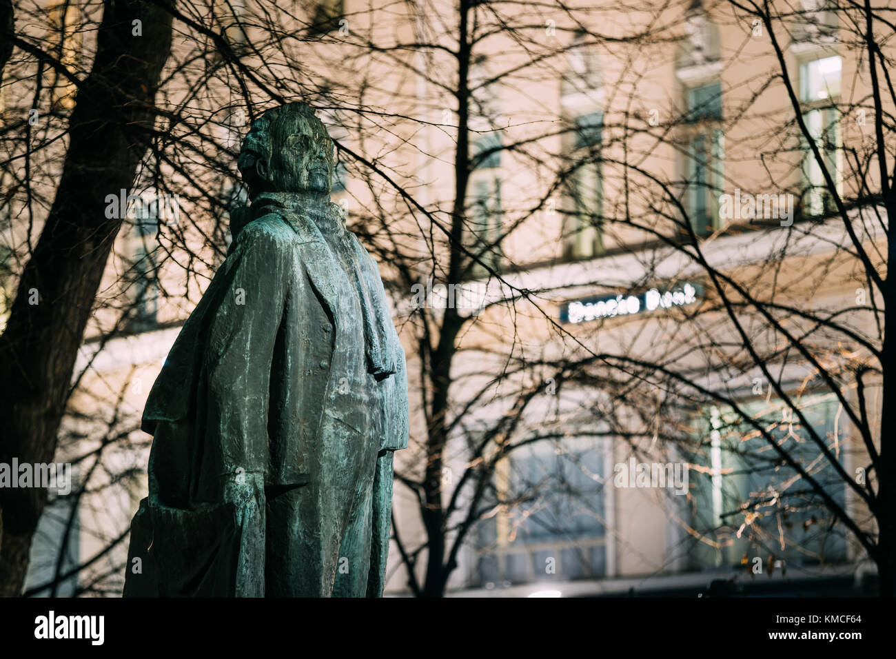 Helsinki, Finland. Evening View Of Monument To Finnish Poet And Journalist Eino Leino In Esplanade Park. - Stock Image