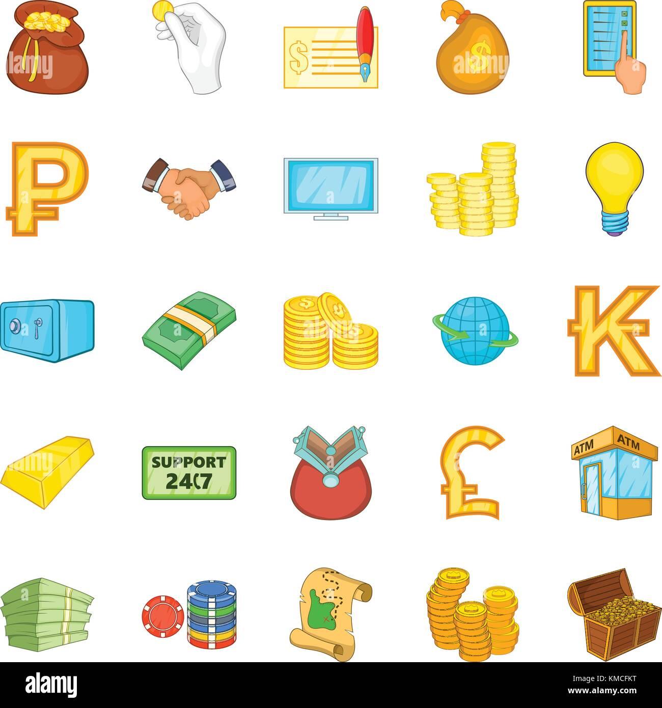 Bankroll icons set, cartoon style - Stock Image