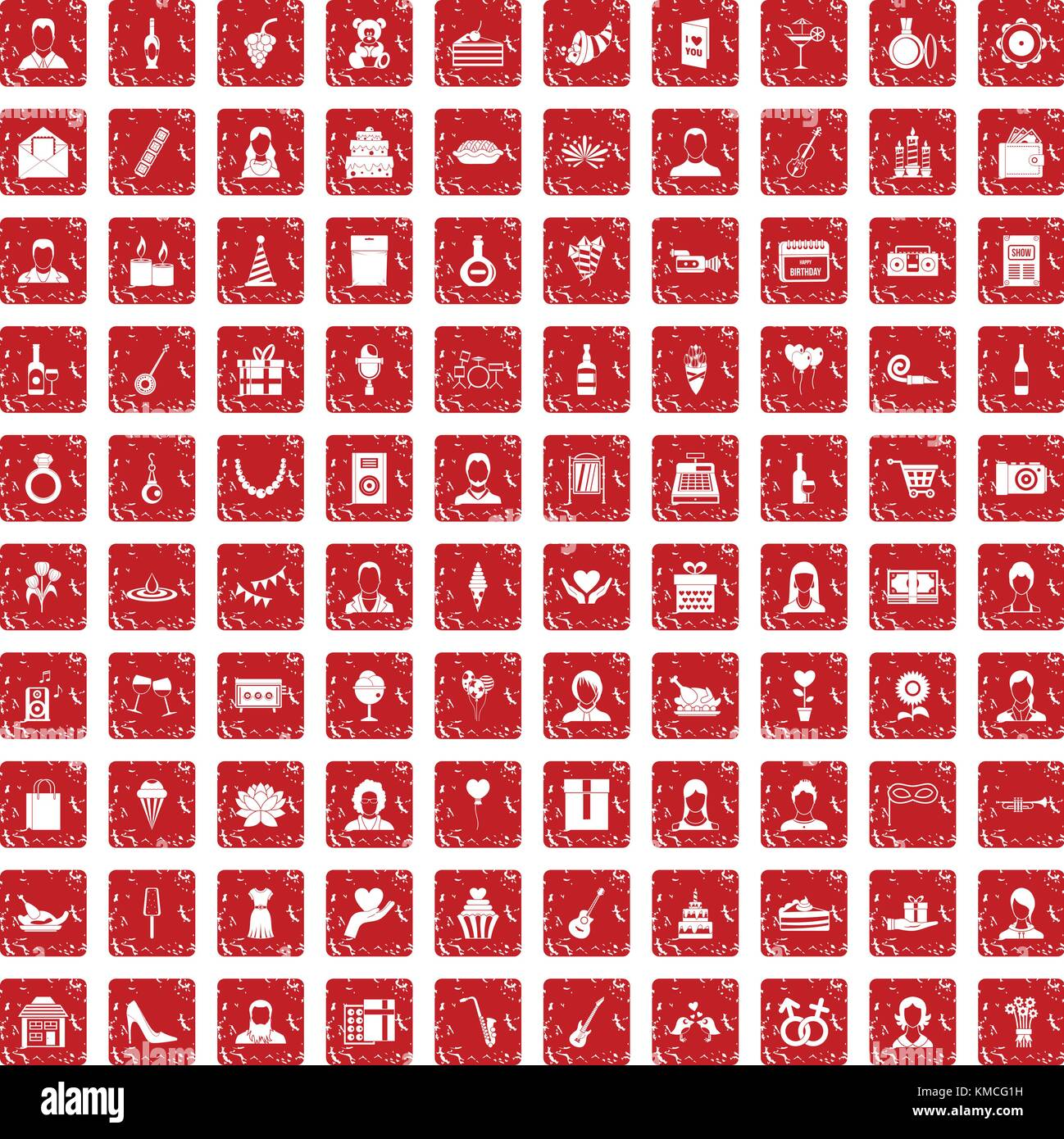 100 birthday icons set grunge red - Stock Vector