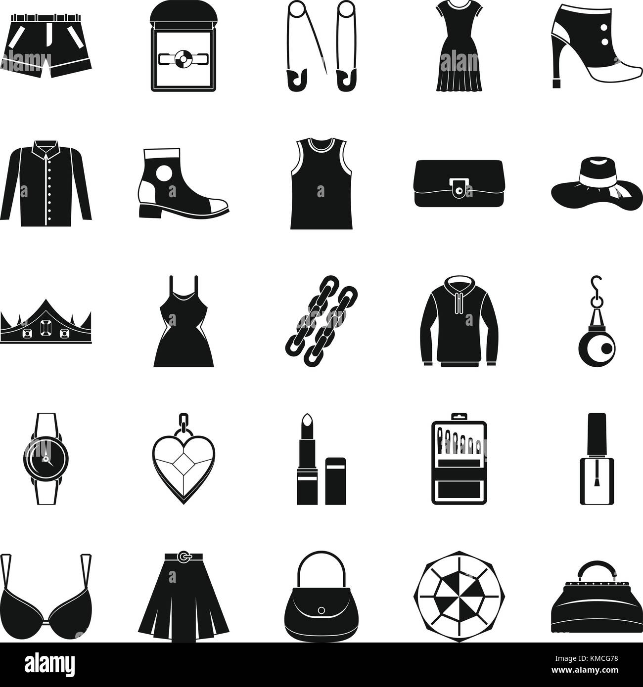 Possessions icons set, simple style - Stock Image