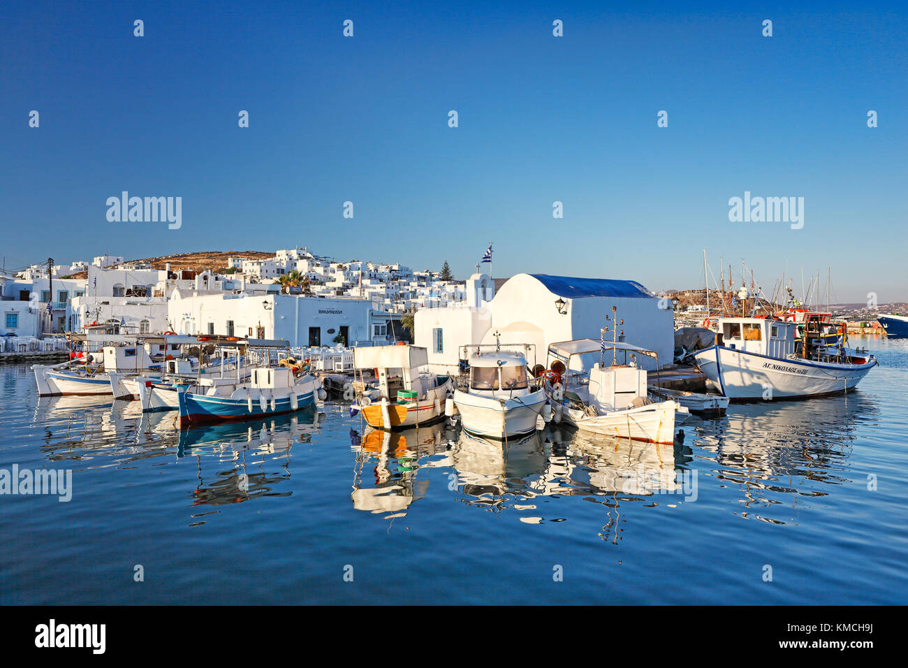 Boats at the port of Naousa in Paros island, Greece - Stock Image