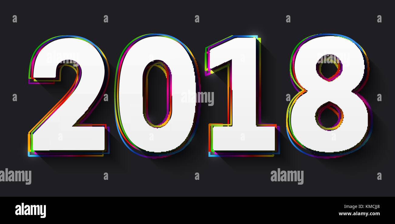 Vector creative happy new year 2018 design consisting of white numbers with multicolored outlines on black background. - Stock Image