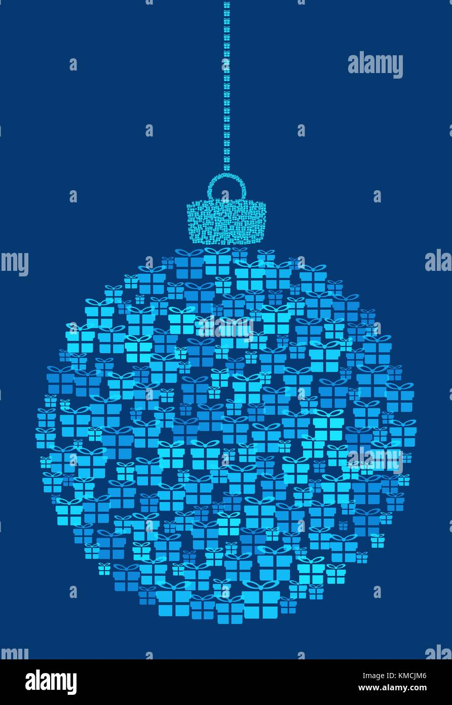 Vector hanging abstract Christmas ball consisting of gift box icons on blue background. - Stock Image