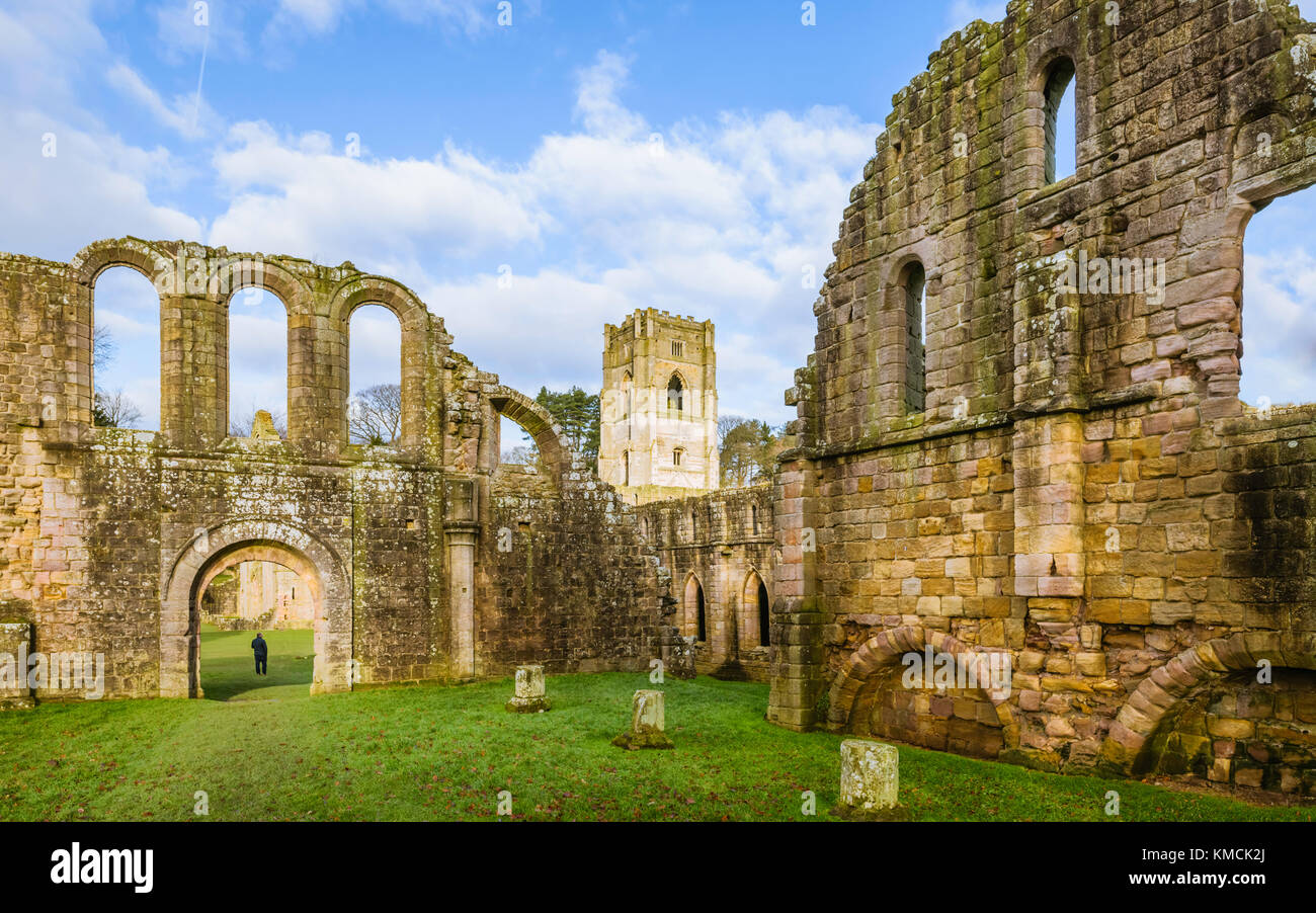 The ruins of Fountains Abbey on a fine autumn morning as viewed from across the river Skell near Ripon, Yorkshire, Stock Photo