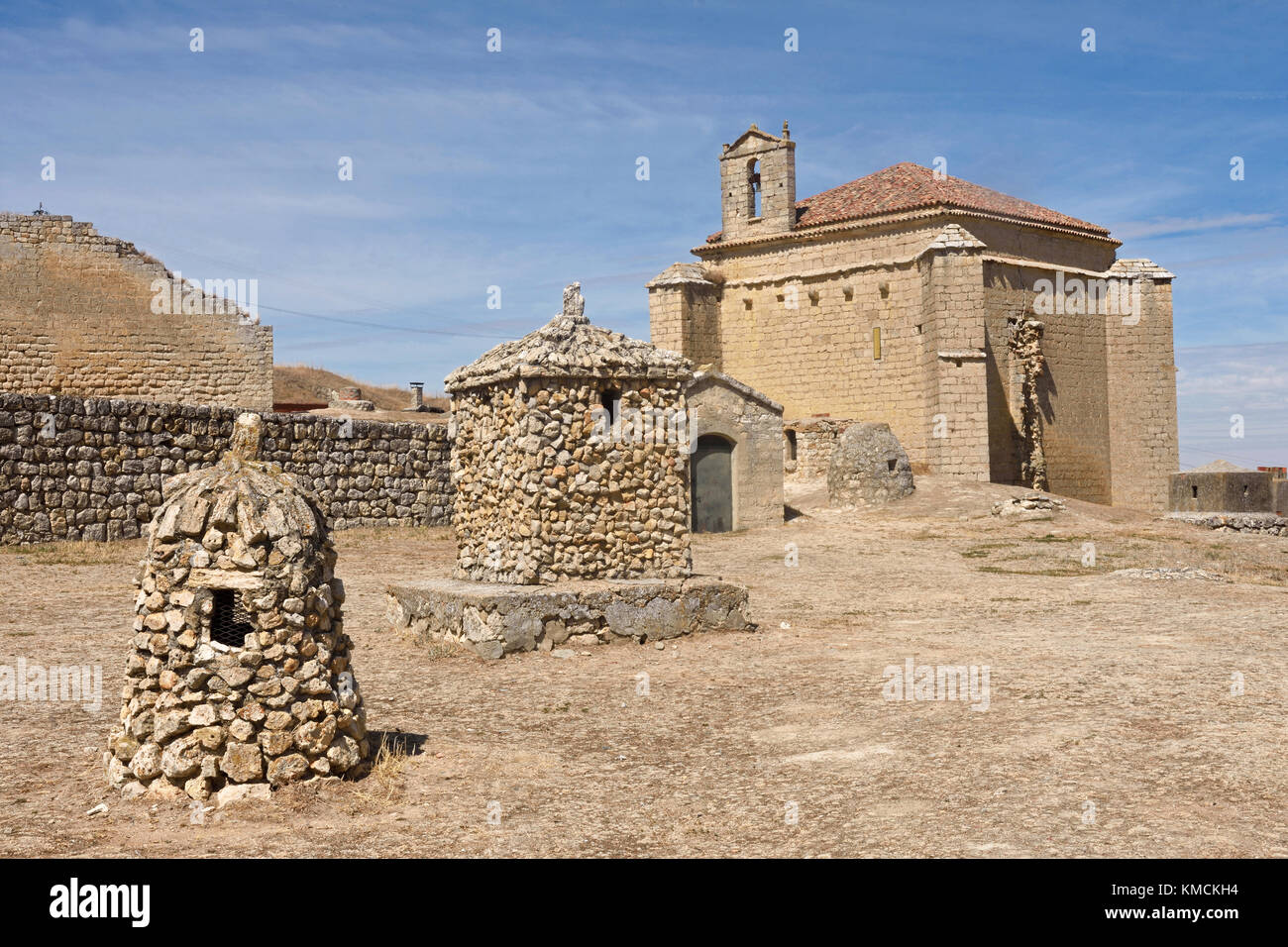 church of Ampudia, Palencia province, Spain - Stock Image