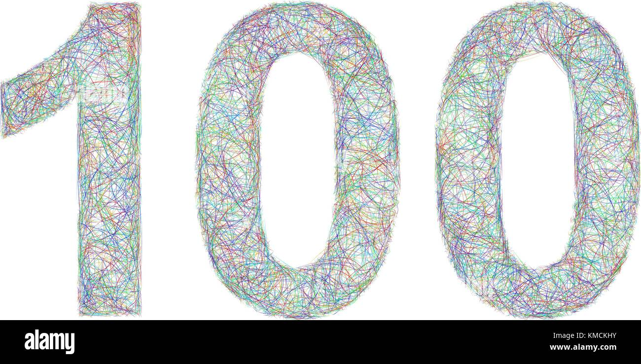 Colorful sketch anniversary design - number 100 - Stock Vector